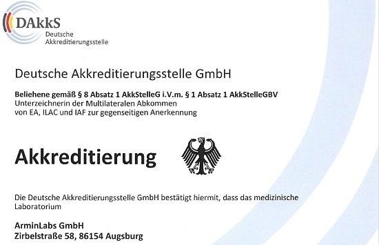 ArminLabs ist gemäß DIN EN ISO 15189:2014 akkreditiert