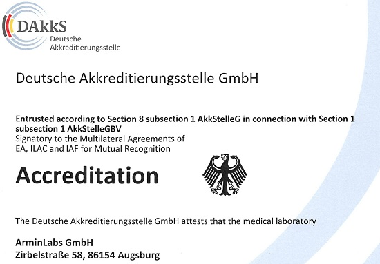 ArminLabs está acreditado internacionalmente conforme con la norma DIN EN ISO 15189:2014