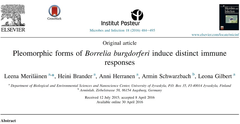 Scientific update 2 published scientific papers about Borrelia burgdorferi